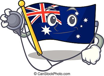 Doctor australian flag clings to cartoon wall