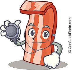 Doctor bacon character cartoon style vector illustration