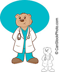 Doctor Bear Cartoon - Illustration of a brown bear wearing a...