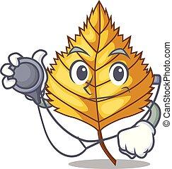 Doctor birch leaf in the mascot shape vector illustration
