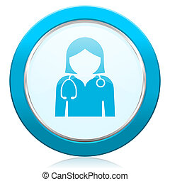Doctor blue chrome silver metallic border web icon. Round button for internet and mobile phone application designers.