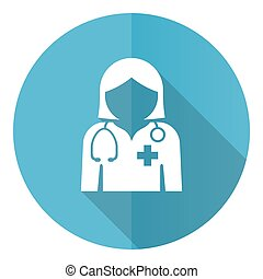 Doctor blue round flat design vector icon isolated on white background