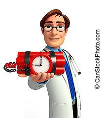 doctor, bomba, joven, tiempo