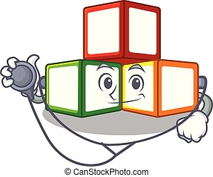 Doctor bright toy block bricks on cartoon