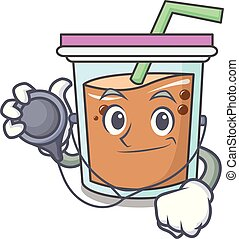 Doctor bubble tea character cartoon
