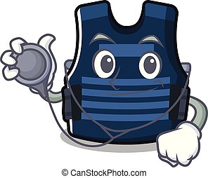 Doctor bulletprof vest isolated in the mascot