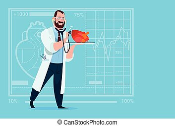 Doctor Cardiologist Examining Heart With Stethoscope Medical Clinics Worker Hospital