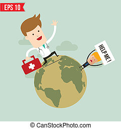 Doctor carry suitecase for emergency service - Vector illustration - EPS10