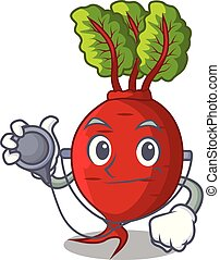 Doctor cartoon fresh harvested beetroots in wooden crate