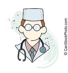 Doctor cartoon hand drawn image