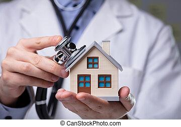 doctor, casa, estetoscopio, utilizar, modelo, cheque