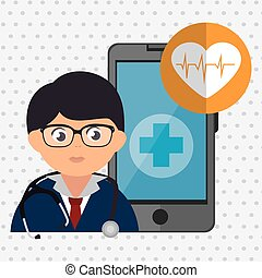 doctor cellphone and heart isolated icon design