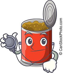 Doctor character canned food isolated on cartoon