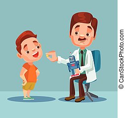 Doctor character giving medicine to little boy patient. Vector flat cartoon illustration