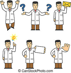 set of medical worker in different poses