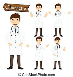 Doctor character set vector illustration.