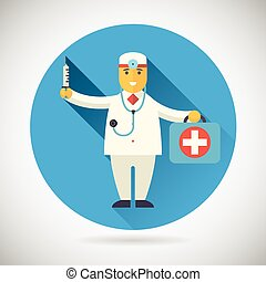 Doctor character with suitcase syringe stethoscope Icon...