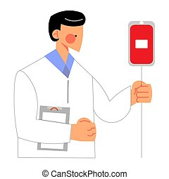 Hand drawn young man doctor checking blood giving eqipment for donors in clinic over white background vector illustration. Donors and blood giving concept