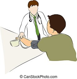 doctor checking Blood Pressure for patient
