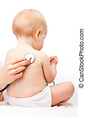 Doctor checking infant heart beat with stethoscope