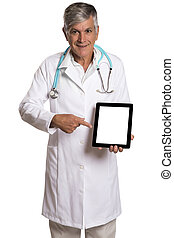 Doctor checking patient notes on a tablet-pc standing with his stethoscope.