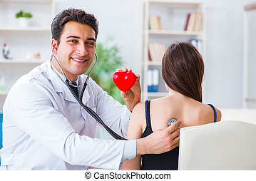 Doctor checking patient with stethoscope