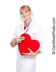 Doctor checking the heart with stethoscope