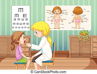 Doctor checking up little girl in clinic