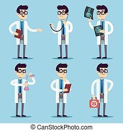 Doctor, chemist, pharmacist, surgeon man cartoon characters vector set