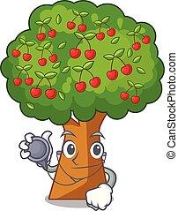 Doctor cherry tree in the cartoon shape