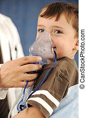 Doctor, child, inhaler mask for breathing, hospital