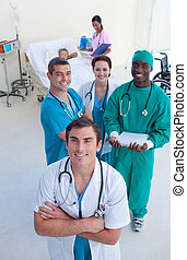 doctor, cirujano, enfermera, niño, paciente, ángulo alto