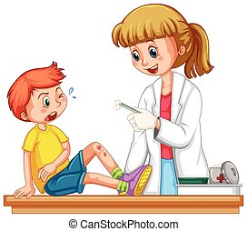Doctor cleanin up the wound of boy