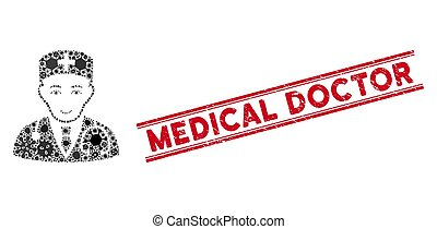 doctor, collage médico, médico, virus, líneas, sello,...