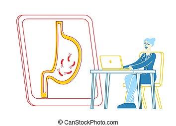 doctor, computador portatil, hembra, vector, síntomas, helicobacter, lineal, mirar, médico, pylori, estudio, ilustración, causes., germs., carácter, humano, trabajo, enfermo, diminuto, gastritis, estómago, gastroenterologist