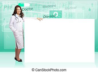 doctor, con, bandera