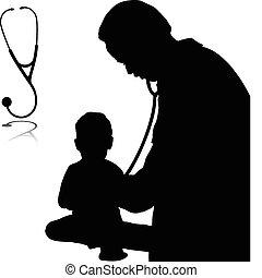 doctor, con, bebé, vector, siluetas