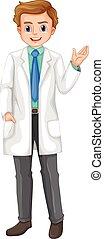 doctor, con, carita feliz