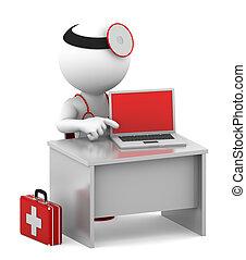 doctor, con, computador portatil, sentado, en, el suyo, oficina
