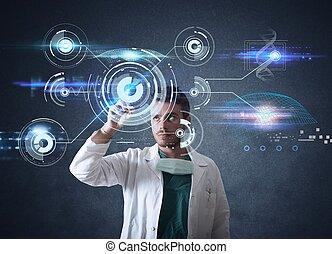 doctor, con, futurista, touchscreen, interfaz