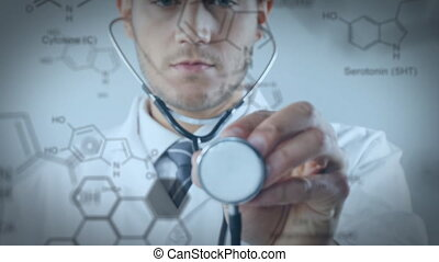 Close up of a Caucasian doctor using a stethoscope. Chemical equations are running in the foreground