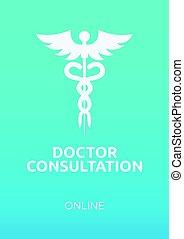 Doctor consultation online banner. Vector medical illustration.