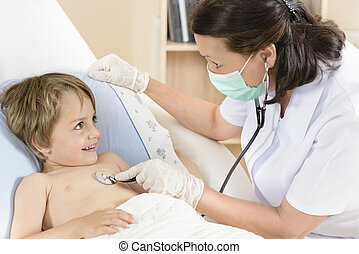 Doctor consulting a little boy