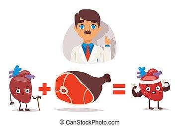 doctor, corazón sano, comer, gente, vector, carne,...