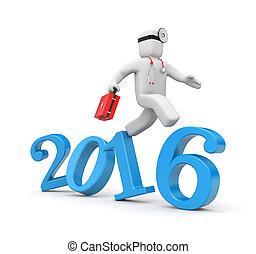 doctor, corra, a, año nuevo