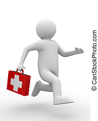 doctor, corre, a, aid., aislado, 3d, imagen