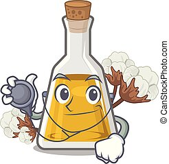 Doctor cottonseed oil in a mascot bottle vector illustration