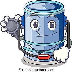 Doctor cylinder bucket Cartoon of for liquid