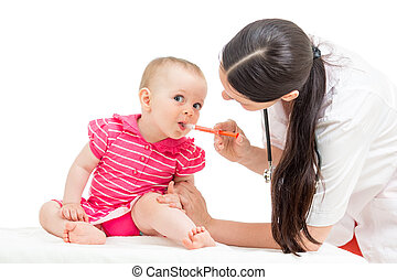 doctor, dar, aislado, remedio, blanco, niña, niño