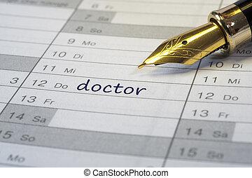 doctor date in calendar written with fountain pen